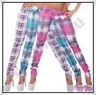 Sexy Women's Checkered Trousers Ladies Skinny Casual Pants Size 6,8,10,12,14 UK
