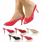 WOMEN SANDALS NEW HIGH FASHION LOW KITTEN HEEL MULES LADIES PARTY SHOES SIZE 3-8