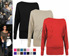 Ladies Womens Batwing Off The Shoulder Top Jumper Long Stretch Petite Plus Size