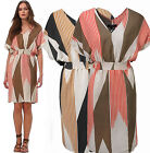 LADIES DRESS SIZE 10 - 26 PLUS WOMENS BEIGE CORAL STRIPED COCKTAIL
