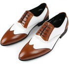 New Men's Shoes Classic Cow Leather Dress/Formal Black Brown/White Size 6~11 721