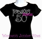 Fabulous at 50 - Fifty - Iron on Rhinestone T-Shirt - Hot Fix Bling Birthday Top