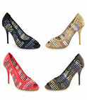 Ladies Womens New High Stiletto Heel Peep Toe Summer Rafia Court Shoes Size 3-8
