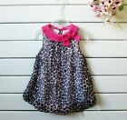 Hot 2015 New Baby Toddler Girl's Leopard Short Sleeve Romper Clothing Baby Dress