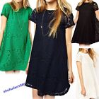 Women Casual Hollow Lace Crochet Short Sleeve Floral Party Shirt  Dress Hot Sale