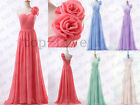 New Chiffon Handmade flowers Wedding Bridesmaid Prom Evening Dress SIze 6-18+