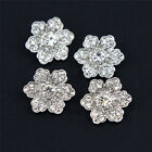 Wholesale 6-12PCS Clear Rhinestone Crystal Chic Flower Shank Alloy Buttons 3/4''