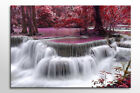 LARGE FRAMED CANVAS ART AUTUMN FOREST WATERFALL WHITE PURPLE BEAUTIFUL NEW PRINT