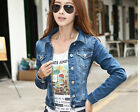 Women Leisure Slim Button-Down Jean denim Solid Collar top coat short Jacket