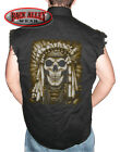 INDIAN SKULL Headdress Sleeveless Denim Shirt Biker Cut ~ Indian Outlaw Nation