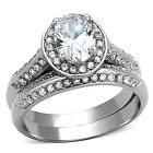 Women's Stainless Steel Oval Cut CZ Engagement Wedding Ring Set, Size 5 - 10