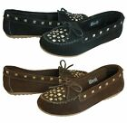 Minnetonka Womens Angie Studded Moc Black Or Brown Slip-on Flats Loafers Shoes