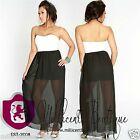 White Black Strapless Sweetheart Top Long Maxi Dress Affordable Stunning Gown