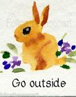 Go Outside Bunny Rabbit Watercolor Country Print  Wall Art