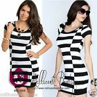 Womens Sexy Black White Two Tone Bodycon Stretchy Knit Party Casual Dress