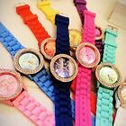 Silicone Crystal Stone Quartz Hand Watches Ladies/Women/Girls Jelly Wrist Watch