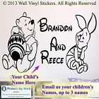 Winnie the pooh and Piglet  Personalised Wall Stickers Brothers Kid room 3 NAMES