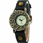 New Trend Women Leather Vintage Quartz Wrist Dial Big Number Lady Watch