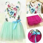 Girls Clothes Toddlers Tulle Floral Printed Pleated Tutu Bow Party Dress 6M-3Y