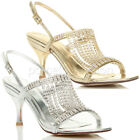 WOMENS LADIES MID HIGH HEEL SLINGBACK DIAMANTE WEDDING DRAPED SANDALS SIZE