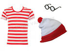 MENS RED & WHITE STRIPED T SHIRT HAT GLASSES STAG DO FANCY DRESS COSTUME