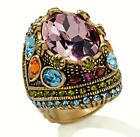NIB Heidi Daus FEAST FOR YOUR EYES Crystal Statement Ring-Oversized Domed Ring