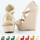 Sexy Style Pumps Lovely Ladies Platform Peep Toe High Heels Wedge Shoes Sandals