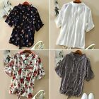 Women's Casual Buttons Batwing Short Sleeve Tops Cotton Front Tie Shirt Blouses