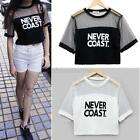 Sexy Women Loose Crop Top Blouse Crew Neck Short Sleeve T-Shirt See-through Tops