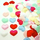 "*U PICK* 90-100 Satin Heart 3/8"" Padded Applique hair accessory fabric craft DIY"