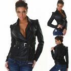 Stylish Women's Black Leather Look Bomber Biker Box Jacket - Sizes UK 6-12