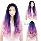 "18""-28"" Long Purple Mixed Pink Curly Wavy Lace Front Synthetic Wig"