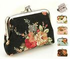 Women Flower Double Frame Pocket Coin Purse Floral Wallet Snap Bag Card Pouch