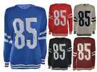 WOMENS LADIES AMERICAN FOOTBALL 85 PRINT VARSITY JUMPER COLLEGE JERSEY  TOP