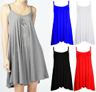 Womens Plain Strappy Sleeveless Oversized Summer Casual Cami Swing Dress 8-14