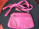 Pink Pu Leather Studded Small Handbag Purse Wallet Pouch New Ladies Girls Womens