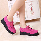 Women's High Platform Flat Shoes Lace Up Fuax Suede Punk Creeper Shoes All Size