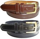 Mens Leather Belts With Double Stitch Edge in Black or Brown Sizes M, L, XL, XXL