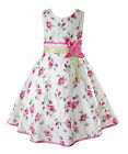 New Girls Floral Summer Party Dress in Pink Hot Pink 6 7 8 9 10 11 Years