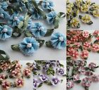 60/240x Ribbon Flowers With Bead Sewing Appliques Craft DIY Wedding Decor RB101