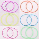 5Pairs Pretty  fluorescence color Circle Basketball Wives Hoop Earrings, 56mm