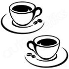 2x COFFEE CUPS COFFEE BEANS Kitchen / Wall Art Stickers (K7)