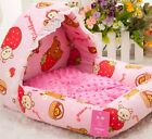 NEW Sweet Pink Princess Lace Pet Dog Cat Soft Bed House Kennel +pillow