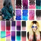 """18 Colors Gradient Rainbow Curly Straight Synthetic Clip Hair Extensions 18""""24"""""""