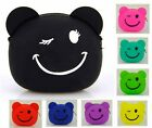 Women Smile Bear Coin Zip Purse Bag Silicone Wallet Cute Creative Candy Color
