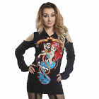 CUPCAKE CULT LOST AT SEA HOOD TOP LADIES BLACK MERMAID HOODIE ZIP LACE GOTHIC