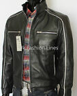 Classic Biker style Slim Fit Men Real Leather Jacket Black ALL SIZES.