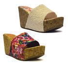 Ladies Womens Chunky Wedge Heel Platform Slip On Summer Sandals Mules Shoes Size