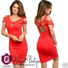 Sexy Women Clubwear Party Dress Red Tomato Peep Hole Ruched Sides Cross Back