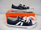 New Boys 2 Stripe Low Canvas Sneakers Navy Blue w / White Stripes Youth Size 2